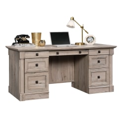 "Sauder® Palladia 66""W Double-Pedestal Executive Desk, Split Oak"
