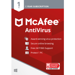 McAfee® AntiVirus, For 1 PC, 1 Year Subscription