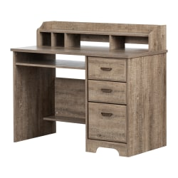"""South Shore Versa 45""""W Computer Desk With Hutch, Weathered Oak"""
