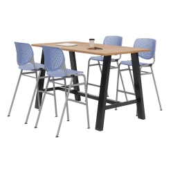 "KFI Midtown Bistro Table With 4 Stacking Chairs, 41""H x 36""W x 72""D, Kensington Maple/Peri Blue"