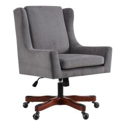 Linon Home Décor Darcy Fabric Mid-Back Chair, Gray/Dark Walnut