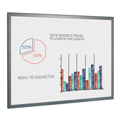 """MasterVision® Easy Clean™ Melamine Dry-Erase Whiteboard, 36"""" x 24"""", Wood Frame With Gray Finish"""