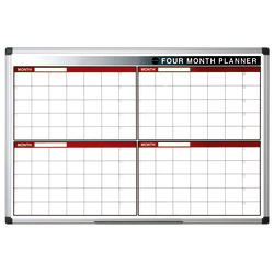 "MasterVision® 4-Month Non-Magnetic Dry-Erase Whiteboard Planning Board, 36"" x 24"", White Steel Frame"