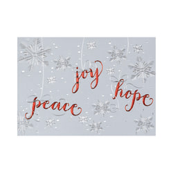"""Custom Embellished Holiday Cards And Foil Envelopes, 7-7/8"""" x 5-5/8"""", Peace Hope Joy Snowflakes, Box Of 25 Cards"""