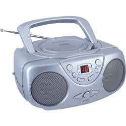 Sylvania SRCD243M Radio/CD Player BoomBox - 1 x Disc - Silver - 20 Programable Tracks - CD-DA, MP3 - Auxiliary Input