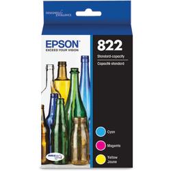 Epson® 822 DuraBrite® Ultra Cyan/Yellow/Magenta Ink Cartridges, Pack Of 3, T822520-S