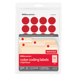 "Office Depot® Brand Removable Round Color-Coding Labels, OD98786, 3/4"" Diameter, Red, Pack Of 1,008"