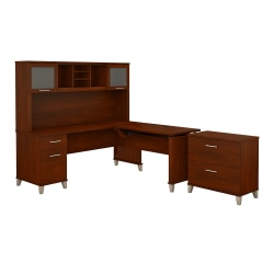 """Bush Furniture Somerset 72""""W 3 Position Sit to Stand L Shaped Desk With Hutch And File Cabinet, Hansen Cherry, Standard Delivery"""