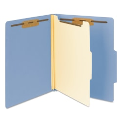 """Smead® Top-Tab Color Classification Folders, Letter Size, 2"""" Expansion, 1 Divider, Blue, Box Of 10"""