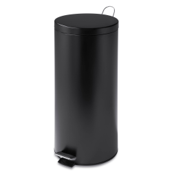 """Honey-Can-Do Round Steel Step Trash Can With Bucket, 7.9 Gallons, 27 3/4""""H x 13""""W x 13""""D, Matte Black"""