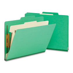 """Smead® Top-Tab Color Classification Folders, Letter Size, 2"""" Expansion, 1 Divider, Green, Box Of 10"""