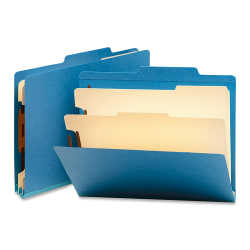 """Smead® Top-Tab Color Classification Folders, Letter Size, 2"""" Expansion, 2 Dividers, Blue, Box Of 10"""