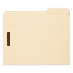 """Smead® Fastener Folders With Reinforced Tab, 2 Fasteners, Letter Size, 1/3-Cut Tab, 3/4"""" Expansion, Manila, Box Of 50"""