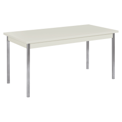 "HON® Laminate All-Purpose Utility Table, 29""H x 30""W x 60""D, Loft/Chrome"