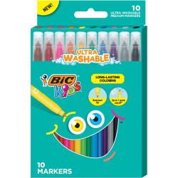 BIC® Kids Coloring Markers, Assorted Colors, Pack Of 10 Markers