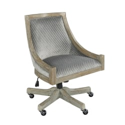 Linon Home Decor Products Lula Quilted Fabric Mid-Back Home Office Chair, Gray/Gray Wash
