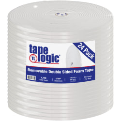 """Tape Logic Removable Double-Sided Foam Tape, 0.5"""" x 72 Yd., White, Case Of 24 Rolls"""