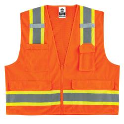 Ergodyne GloWear Safety Vest, 2-Tone Surveyors, Type-R Class 2, XX-Large/3X, Orange, 8248Z
