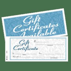 "Adams® 2-Part Gift Certificates Kit, 3 2/5"" x 8 1/2"", White, Pack Of 25 Certificates/Envelopes"