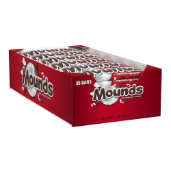 Mounds Dark Chocolate Candy Bars, 1.75 Oz, Pack Of 36 Bars