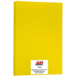 """JAM Paper® Cover Card Stock, 11"""" x 17"""", 65 Lb, 30% Recycled, Solar Yellow, Pack Of 50 Sheets"""