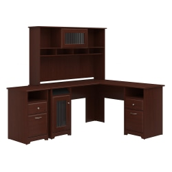 Bush Furniture Cabot L Shaped Desk With Hutch And 2 Drawer File Cabinet, Harvest Cherry, Standard Delivery