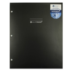 """U Style 2-Pocket Paper Folder With Microban® Antimicrobial Protection, 9-9/16"""" x 11-11/16"""", Black"""