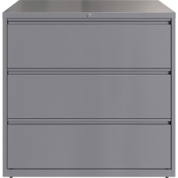"""Lorell® 42""""W Lateral 3-Drawer File Cabinet, Metal, Silver"""