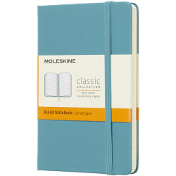 """Moleskine Classic Hard Cover Notebook, 3-1/2"""" x 5-1/2"""", Ruled, 192 Pages (96 Sheets), Reef Blue"""
