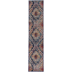 "Linon Home Decor Products Sinclair Area Rug, 144""H x 24""W, Naill, Ivory/Teal"