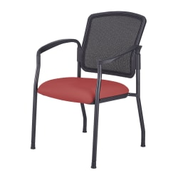 WorkPro® Spectrum Series Antimicrobial Vinyl Stacking Guest Chair, With Arms, Red/Black