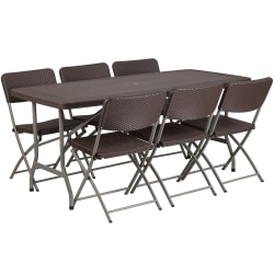 """Flash Furniture Rattan Plastic Folding Table Set With 6 Chairs, 28-3/4""""H x 32-1/2""""W x 67-1/2""""D, Brown"""