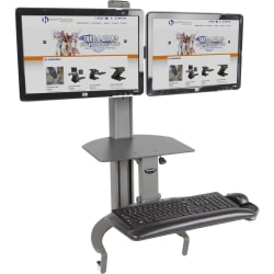 HealthPostures TaskMate Dual Monitor Sit-To-Stand Desk, Black