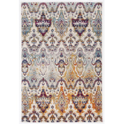 """Linon Home Decor Products Sinclair Area Rug, 90""""H x 60""""W, Keene, Ivory/Teal"""