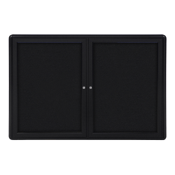 "Ghent Ovation 2-Door Bulletin Board, Fabric, 34"" x 47"", Black, Black Aluminum Frame"