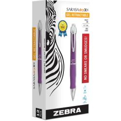 Zebra® GR8 Gel Retractable Pens, Medium Point, 0.7 mm, Violet Barrel, Violet Ink, Pack Of 12 Pens