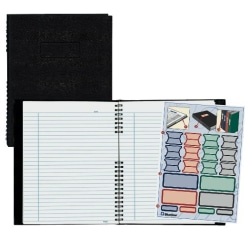"""Rediform® NotePro® Executive Notebook, 9 1/4"""" x 7 1/4"""", College Ruled, 150 Pages, 50% Recycled, Black"""