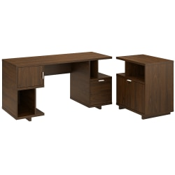 """kathy ireland® Home by Bush Furniture Madison Avenue 60""""W Computer Desk With Lateral File Cabinet, Modern Walnut, Standard Delivery"""