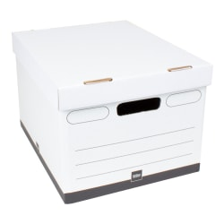 "Office Depot® Brand Heavy Duty Quick Set-Up Storage Boxes, Letter/Legal Size, 15""L x 12""W x 10""H, White/Black, Pack of 10"