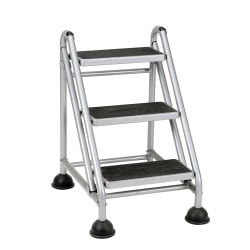Cosco® Rolling Commercial Step Stool, 3-Step, 26 3/5 Spread, Black/Platinum