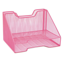 """Mind Reader 3-Compartment Desk Organizer, 8-1/4""""H x 12-1/2""""W x 9-3/4""""D, Pink"""