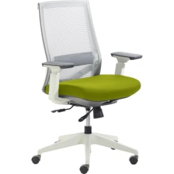 True Commercial Pescara Mesh/Fabric Mid-Back Executive Chair, Green/Off-White