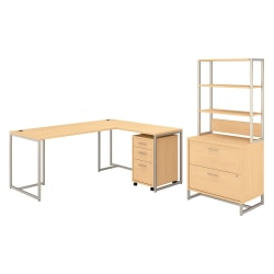 "kathy ireland® Office by Bush Business Furniture Method 72""W L-Shaped Desk With 30""W Return, File Cabinets And Hutch, Natural Maple, Standard Delivery"