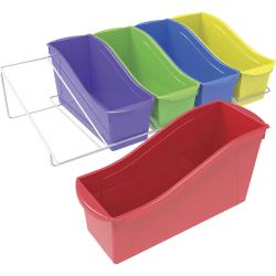 "Storex Large Book Bins Metal Shelf Rack - 5 Compartment(s) - 7.3"" Height x 14.3"" Width25.7"" Length - Wall Mountable - Assorted, White Bin, Rack - Metal, Steel - 1Carton"