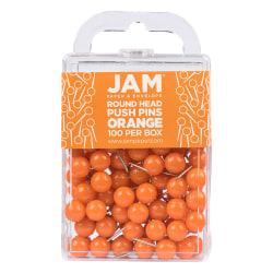 "JAM Paper® Colorful Push Pins, 1/2"", Orange, Pack Of 100 Push Pins"