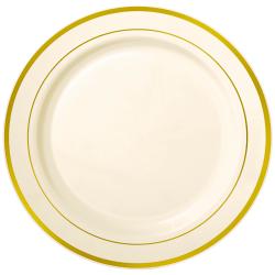 """Amscan Premium Plastic Plates With Trim, 10-1/4"""", Cream/Gold, Pack Of 10 Plates"""