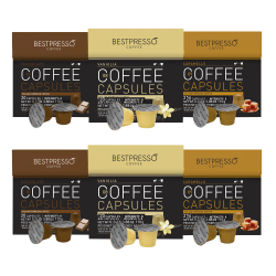 Bestpresso Single-Serve Coffee Capsules Variety Pack, Assorted Flavors, 1 Oz, Pack Of 120 Capsules