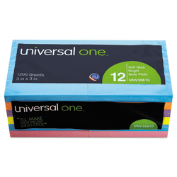 """Universal® Self-Stick Bright Note Pads, 3"""" x 3"""", Assorted Colors, 100 Sheets Per Pad, Pack Of 12 Pads"""