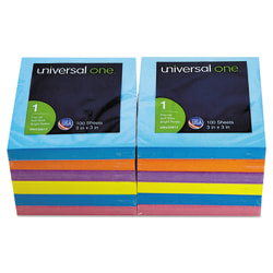 """Universal® Fan-Folded Pop-Up Notes, 3"""" x 3"""", Assorted Bright Colors, 100 Sheets Per Pad, Pack Of 12 Pads"""