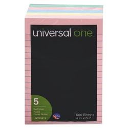 "Universal® Lined Self-Stick Notes, 4"" x 6"", Assorted Colors, 100 Sheets Per Pad, Pack Of 5 Pads"